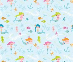 mermaids fabric by shindigdesignstudio on Spoonflower - custom fabric.  Cute, but a little expensive