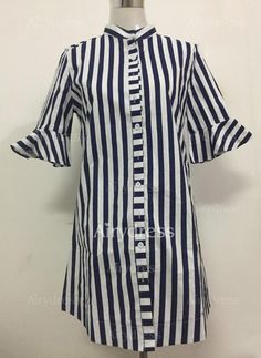Summer New Product New Style Small Collar Fashion Female Striped Long Shirt Shirt Female Best Summer Dresses, Casual Summer Dresses, Casual Outfits, Casual Cotton Dress, Striped Dress, Female, Shirts, Fashion Design, Clothes