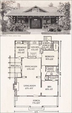 1916 California Bungalow - 1200 sq. ft. - Helen Lukens Gaut - Old house plans for little homes. like that it's one floor but still packs in a front porch, a little back sleeping porch off the bedroom, a pergola off the side (ours would be to the back, i think), and a 'den' (to keep 2nd BR for resale but use it as a separate living room).