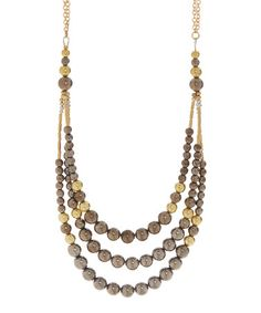This Brown & Goldtone Bead Layered Necklace is perfect! #zulilyfinds