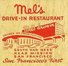 Matchbook cover ad for Mel's Drive-in, San Francisco Vintage Packaging, Vintage Labels, Vintage Ads, Vintage Posters, Vintage Designs, Vintage Type, Retro Illustration, Illustrations, Graphic Design Illustration
