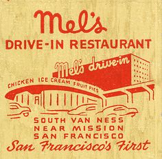 Matchbook cover ad for Mel's Drive-in, San Francisco