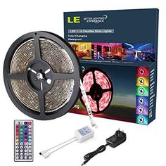 LE 12V DC Waterproof RGB LED Strip Lights Kit,150 Units SMD 5050 LEDs, 5m LED ribbon,44 Key IR Romote Controller Remote Controller and Power Adaptor Included, Multi-coloured LED Tape, Christmas Decoration Lighting