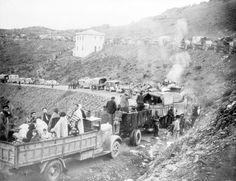 Frontière franco-espagnole arrivée d'un convoi de réfugiés espagnols 15/02/1939 à Cerbère