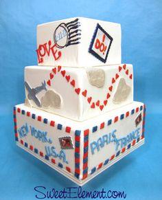 Par Avion Wedding Cake by SweetElement, via Flickr