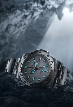 A blue glow in the dark: the reassuring sight of the long-lasting Chromalight display of the Rolex Explorer II.
