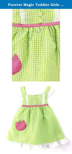 Forever Magic Toddler Girls Gingham Ruffle Dress (4T, Lime Flower). Your little sweetheart will be looking lovely in one of these Forever Magic dresses. Each of these darling Forever Magic toddler girls dresses feature unique details and style, like Gingham plaid, Seersucker fabric, flowers, ruffles, ribbon details, and more! Dresses have tank top cap styled sleeves, grosgrain ribbon details, ruffle lace hem lines, and tie on the back for the perfect fit every time. The perfect dress for…