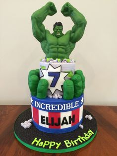 Incredible Hulk Cake Incredible Hulk cake made for an Icing Smiles recipient. Fondant covered cake, molded rice krispies covered in fondant...