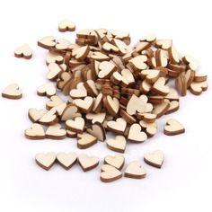 Lot de 200pcs 10mm embellissement forme de coeur en bois pour artisanat décoration de mariage
