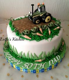 Gone farming - cake by LollysKitchen - CakesDecor 70th Birthday Cake For Men, Tractor Birthday Cakes, Garden Birthday Cake, Tractor Cakes, 10th Birthday, Cake Design For Men, Pumpkin Patch Birthday, Farm Cake, Cake Board