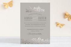 White Shadows Foil-Pressed Wedding Invitations