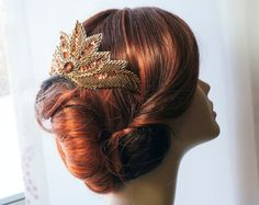 Beautiful Art Deco, 1920's Vintage Inspired Bronze Beaded Haircomb - Bridal, Wedding or Formal Hair Accessory
