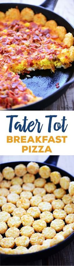 MADE THIS sued only sausage. Fun and easy breakfast. Tater Tot Breakfast Pizza - With crispy potatoes, scrambled eggs, melted cheese, crispy bacon and sausage is a delicious breakfast or holiday brunch! Breakfast Desayunos, Breakfast Dishes, Breakfast Recipes, Breakfast Potatoes, Sausage Breakfast, Frozen Breakfast, Mexican Breakfast, Breakfast Sandwiches, Breakfast Ideas With Eggs