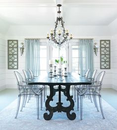 Dining room table and ghost chairs