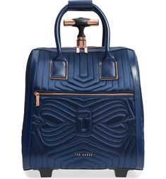 Anisee Quilted Wheeled Travel Bag, Main, color, Navy