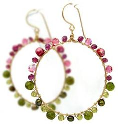 Pink and green bead hoop earrings Indie Fixx Fall Jewelry Guide