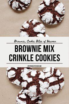 Crinkle Cookies Cake Mix, Brownie Mix Cookies, Chocolate Crinkle Cookies, Chocolate Crinkles, Yummy Cookies, Cake Mix Brownies, Brownie Cupcakes, Brownie Mix Recipes, Cake Mix Cookie Recipes