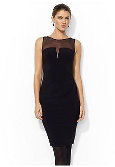 Lauren Ralph Lauren Mesh-Yoke Jersey Dress