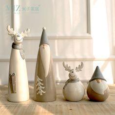 Zim 1 Pièce En Céramique Parti Décoration De Noël Santa Claus Elk Figurine De Noël Décorations pour La Maison Cadeau pour Enfants
