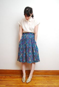 vintage 1990s / paisley / floral /  high waist / pocket / by YeYe, $22.00