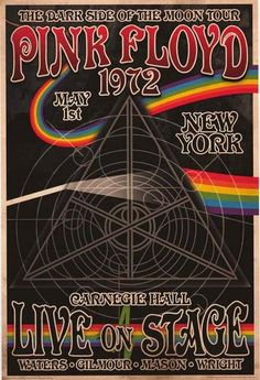 A great Pink Floyd concert poster - a performance of Dark Side of the Moon at New York's Carnegie Hall in May of 1972! Fully licensed - 2015. Ships fast. 24x36