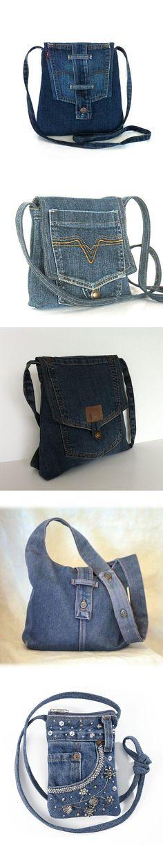 DIY Jean Purses w/ pocket flap Denim Tote Bags, Denim Purse, Jean Purses, Purses And Bags, Do It Yourself Jeans, Diy Sac, Denim Crafts, Recycled Denim, Old Jeans