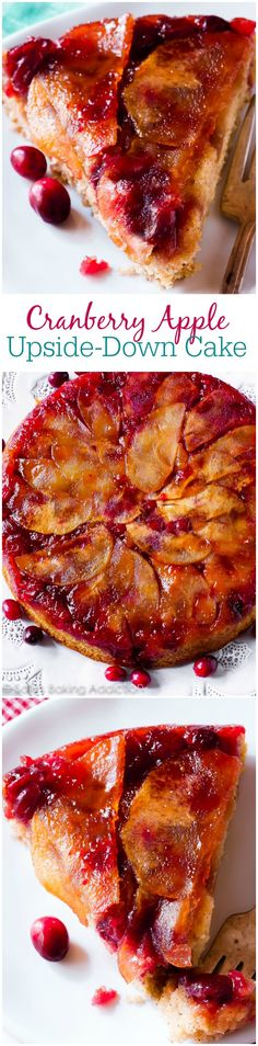Cranberry Apple Upside-Down Cake. A beautiful addition to your fall spread, this simple cranberry apple upside-down cake is full of flavor. Complete with a brown sugar butter glaze, bright cranberries, apples, and a moist cinnamon spice cake. Köstliche Desserts, Holiday Desserts, Holiday Baking, Holiday Recipes, Delicious Desserts, Yummy Food, Cranberry Recipes, Apple Recipes, Sweet Recipes