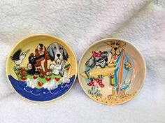 Dog Bowls Two 8 Dog Bowls for Food and Water Personalized at no charge and signed by Artist Debby Carman >>> Details can be found by clicking on the image.