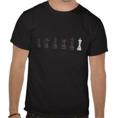 Cool t-shirt with the black chess pieces and a white king. This design belongs to a collection and is available on other products here: chesspieces.peculiardesign.net