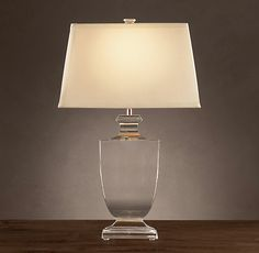 """Palladian Crystal Urn Table Lamp  $455  Lamp Base: 5¾"""" sq., 24½""""H  Rectangle Shade, Size C: 16""""W x 8¼""""D x 9¾""""H"""