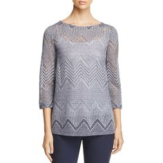 Lafayette 148 New York Chevron-Knit Boat Neck Sweater ($475) ❤ liked on Polyvore featuring tops, sweaters, ink multi, knit top, chevron print tops, chevron top, knit sweater and boat neckline tops