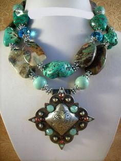 Howlite Turquoise, Australian Agate Necklace, Matching Earrings and Crystal Concho Pendant / Custom Designed