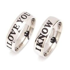 """""""I Love You"""" & """"I Know"""" women's rings, promise rings for her"""