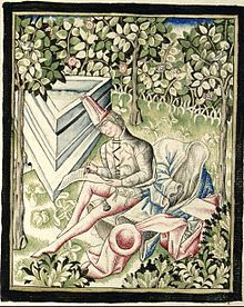 A writer's paradise: Martin le Franc at work in a lovely garden. Medieval Fashion, Medieval Clothing, Medieval Art, Le Champion, Illuminated Manuscript, 15th Century, Destiny, Renaissance, Miniatures