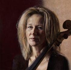 Lambert - 'Cello Player Corien Kok', 2015. Oil on panel, 40 x 40 cm
