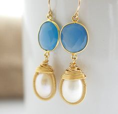 Blue Chalcedony Earrings with Bezel Set Freshwater by Jewels2Luv, $42.00