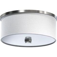 Copeland Satin Nickel Two Light Flush Mount With White Grass Shade Quorum International Fl