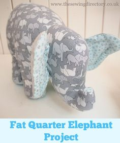 Sew this adorable soft toy elephant using just 4 fat quarters of fabric # Sewing Projects Fat Quarter Elephant Toy Project Sewing Toys, Baby Sewing, Sewing Crafts, Fabric Sewing, Diy Crafts, Fabric Toys Diy, Fabric Storage, Animal Sewing Patterns, Sewing Patterns Free