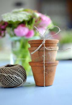 "Vintage Terracotta pots - "" Nature ribbon "" - set of 3 pots. kr40,00, via Etsy."