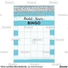 Silver and Blue Blue Bridal Shower Bingo Card