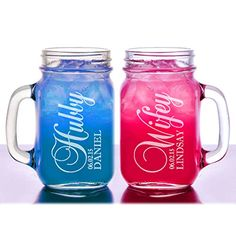 Stocking Factory Custom Engraved Hubby And Wifey Personalized Mason Jars Drinking Mugs With Handle, 16-Ounce, Set Of 2, Clear Glass, 2015 Amazon Top Rated Old Fashioned Glasses #Kitchen