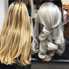 Amazing transformation from blonde to grey hair by VoodouFrankie at our Button Street hair salon, Liverpool  #greyhair #grayhair #silverhair #hairgoals #haircolor #haircolour #hairbeforeandafter