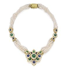 PROPERTY FROM THE ESTATE OF CHARLENE Q. THOMPSON, HOUSTON, TEXAS 14 Karat Gold, Cultured Pearl, Diamond, Emerald and Sapphire Necklace