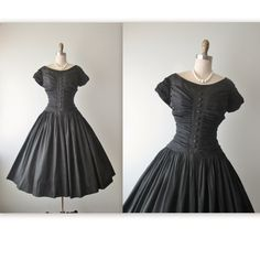 50's Ruched Taffeta Dress // Vintage 1950's Ruched Black Taffeta Full Cocktail Party Evening Dress S by TheVintageStudio on Etsy