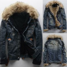 Men's Denim Coats Jacket Outwear Overcoat via martEnvy. Click on the image to see more!