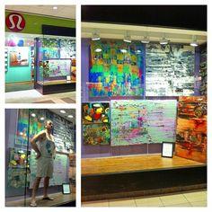 next level art at Lulu Lemon: Promenade Mall www.tylertilley.com  Toronto #abstract #art #funky #bright #fun