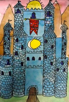 Deep Space Sparkle – How to draw a castle art project.  Will this get boring for them?