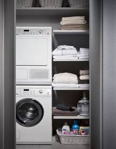 Do you want make small laundry room look like functional for home and apartement? Laundry rooms are often overlooked because you work too much at home and apartement. Here our team gave 30 Laundry Room Design Ideas. Laundry Closet, Small Laundry Rooms, Laundry Room Design, Laundry In Bathroom, Small Bathroom, Bathroom Interior, Interior Design Living Room, Living Room Designs, Casa Milano