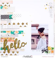 """Hello"" Layout by ScatteredConfetti with Crate Paper ""Open Book"" collection // #scrapbooking #layout #cratepaper #scrapbookwerkstatt #maggieholmes"