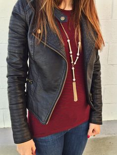 Leather + Burgandy // Classic Winter Color Combo #style